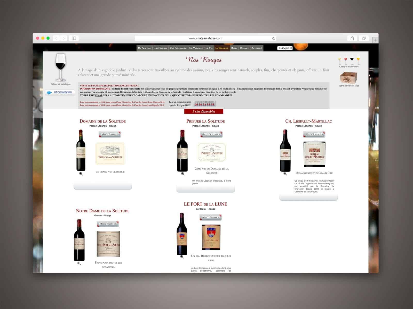 Domaine de la Solitude, choix des vins dans la boutique