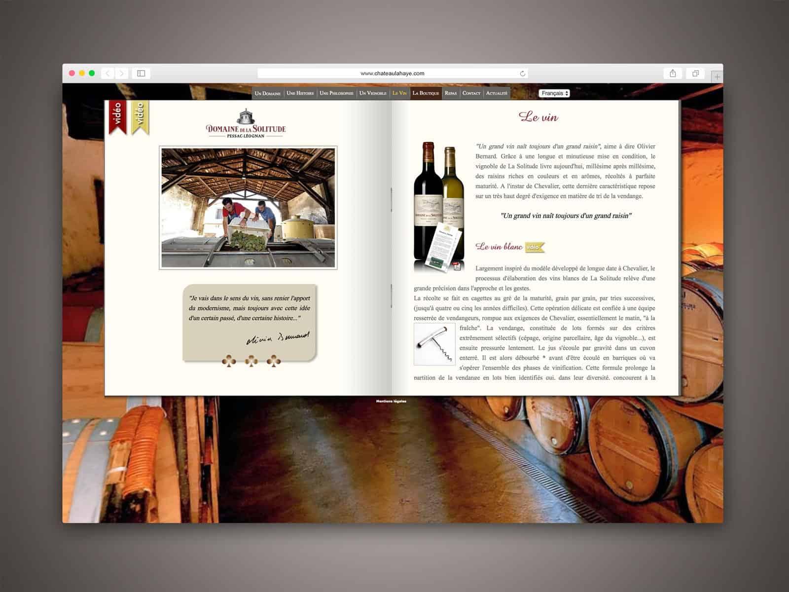 Domaine de la Solitude, la présentation des vins