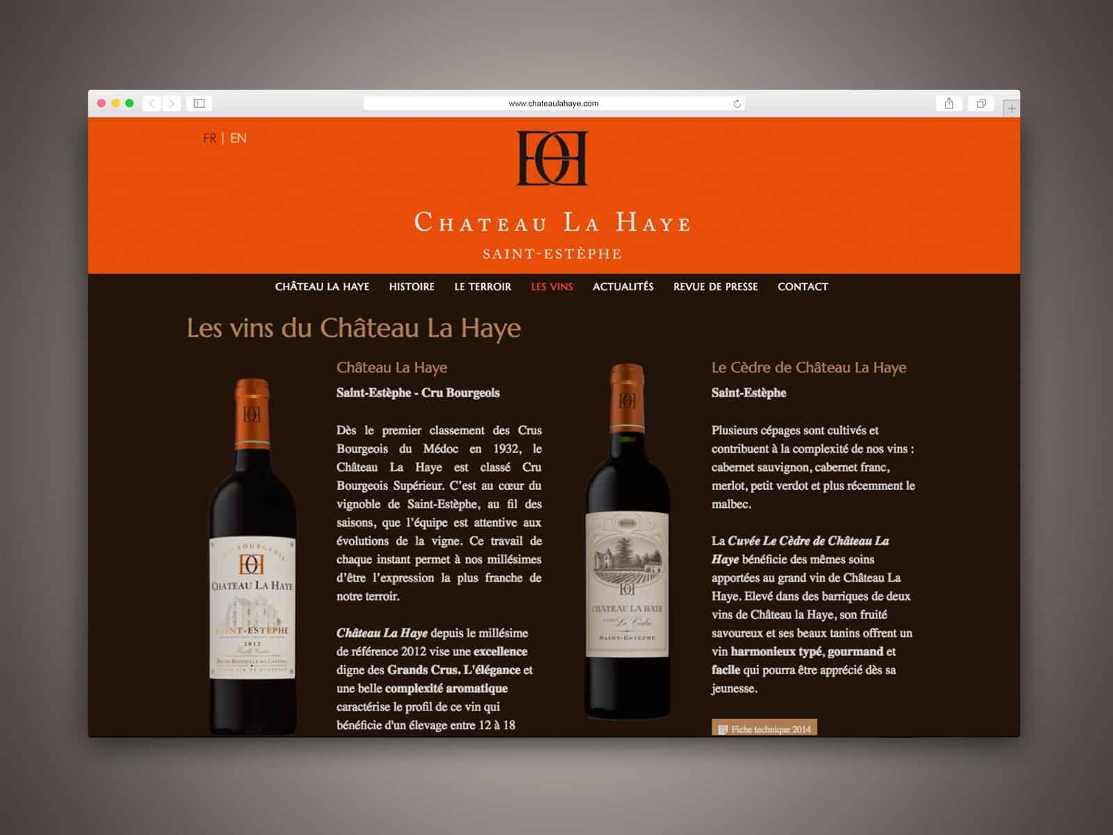 Château La Haye, les vins avec leur fiche technique