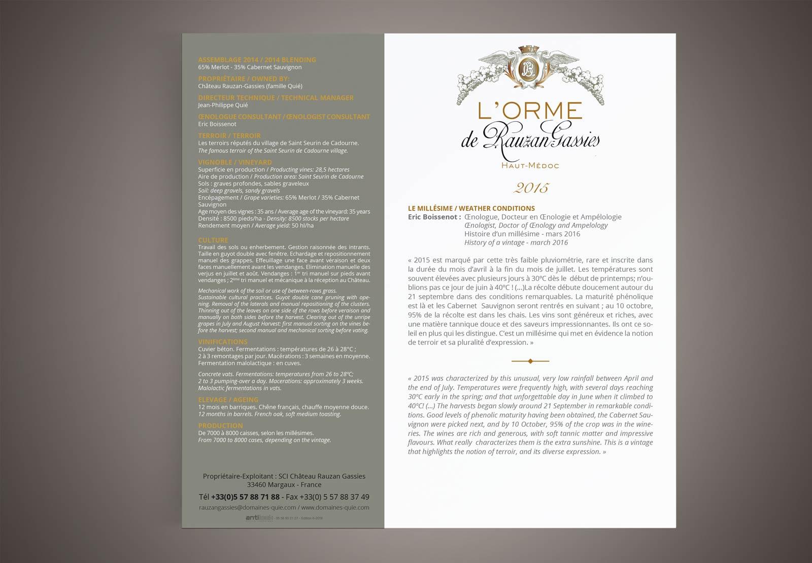 RAUZAN GASSIES : L'Orme de Rauzan, fiche technique verso
