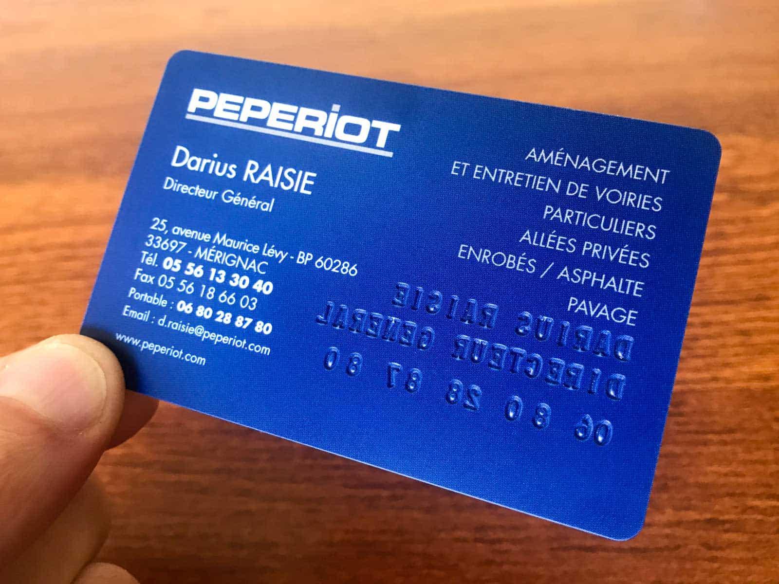 PEPERIOT carte PVC type carte bancaire vue de dos